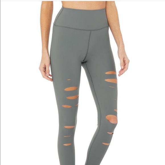 6dac53c065e08c ALO Yoga Pants | Alo High Waist Ripped Warrior Leggings | Poshmark